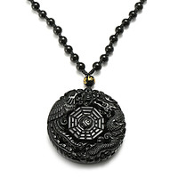 Natural Obsidian Carved Chinese Dragon Phoenix BaGua Lucky Pendant Necklace