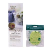 Kem dưỡng da tay Olive Hàn Quốc cao cấp 3W Clinic Olive Hand Cream (100ml) + Tặng Bông bọt biển massage mặt Hàn Quốc Mira Culous – Hàng Chính Hãng