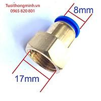 Đầu nối đồng ren trong 17mm ra ống 8mm