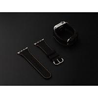 Dây da đồng hồ SEN Apple Watch size 38/40 - CHÍNH HÃNG KHACTEN.COM - ĐEN SÁP-187 - ADAPTER BẠC