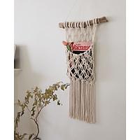 Túi Macrame treo tường tiện lợi TTM01- Đựng đồ tiện dụng, lưu trữ đa năng, trang trí phòng khách, phòng ngủ.