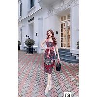 Váy Thiết Kế body thổ cẩm, váy dáng ôm thổ cẩm 2 dây to kèm nơ eo sang chảnh - H&N Sotre