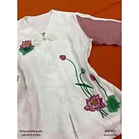 ĐỒ LAM ĐI CHÙA thêu sen thiết kế vải đũi lenin tơ - Pháp phục Phật tử nữ chính hãng Sen Hồng