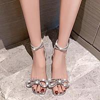 giày cao gót nữ 5 phân quai cườm gót trụ hottrend 2021 mã LC04