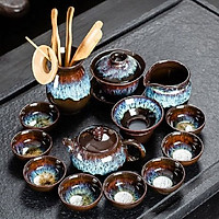 Bộ ấm chén pha trà men hỏa biến 13 món