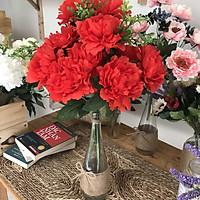 Cây hoa giả trang trí phòng khách mẫu đơn Bình thủy tinh - HOA025