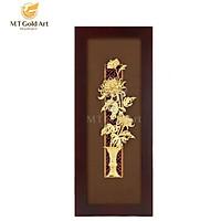 Tranh Bình hoa cúc dát vàng (14x34cm) MT Gold Art- Hàng chính hãng, trang trí nhà cửa, phòng làm việc, quà tặng sếp, đối tác, khách hàng, tân gia, khai trương