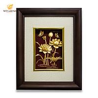 Tranh hoa sen dát vàng (22x27cm) MT Gold Art- Hàng chính hãng, trang trí nhà cửa, phòng làm việc, quà tặng sếp, đối tác, khách hàng, tân gia, khai trương