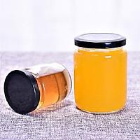 Bộ 6 hũ thủy tinh 220ml nắp thiếc đen đựng mật ong, thực phẩm, gia vị tiện lợi