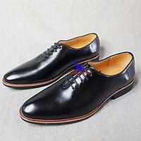 Giày da nam giày tây nam da bò LÓT DA CỪU Giày da nam cao cấp da thật lười nam da bò đẹp Công sở Oxford Shoes B-6 đen
