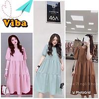 Váy bầu thời trang thiết kế babydol    đầm bầu tay bồng đẹp