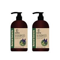 Combo 2 chai dầu gội dược liệu giảm rụng tóc chiết xuất oải hương, ô liu Ecoco 336g