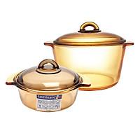 Bộ 2 Nồi Thủy Tinh Vitro Amberline Granite Luminarc (1L - 3L) - Vàng