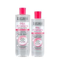 Bộ 2 sản phẩm nước tẩy trang Evoluderm dành cho da khô và nhạy Cảm 500ml và 250ml