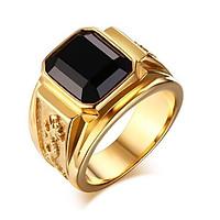 Nhẫn nam phong thuỷ khắc rồng may mắn gắn đá đen, nhẫn nam Titan Cao Cấp