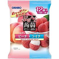 Combo 6 gói Thạch trái cây Orihiro vị đào và vải 240g (20g x 12 cái)