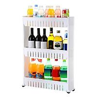 Kệ để đồ đa năng bằng nhựa nhỏ gọn để phòng bếp - phòng tắm 3 tầng có bánh xe di chuyển nhẹ nhàng tiện dụng