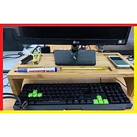 Giá kệ đỡ màn hình máy tính bằng Tre có khay để Điện Thoại, Bút và Các Vật Dụng như kẹp ghim hay đồ dùng văn phòng,Màu Vàng Gỗ Tre Nguyên Bản,Độ Cao vừa phải để vừa tất cả các bàn phím máy tính mà màn hình lại không cao quá - Kệ để Màn Hình Máy Tính hàng Việt Nam