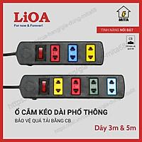 Ổ Cắm Điện LiOA Phổ Thông - Ổ Cắm Điện 3 lỗ - 4 lỗ có CB an toàn dây dài 3m/5m