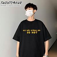 Áo Phông Tay Lỡ Nam Nữ Unisex Việt Nam Hà Nội Giống Em So Hot 100% Cotton Thoáng Mát Phong Cách Dáng Suông