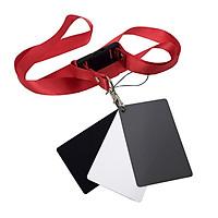 White Black 18% Gray Color Balance Cards Digital Grey Card with Neck-Strap DSLR Camera White Balance Card Photography