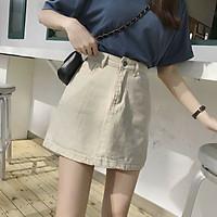 Chân váy chữ A lưng cao chất liệu kaki phong cách hàn quốc cá tính