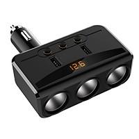 Bộ chia tẩu sạc oto, xe hơi cao cấp 3 tẩu - 2 cổng USB có LED báo ắc quy HD