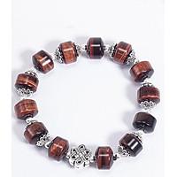 Vòng Tay Phong Thủy Đá Mắt Hổ Nâu Đỏ Phối Charm Kết Đồng Tâm (12mm) Mệnh Hỏa, Thổ Ngọc Quý Gemstones