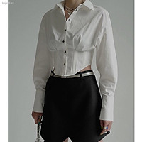 ✲In the early autumn of 2021, new fashion, personalized, niche design, fishbone waist closing short long sleeve shirt, women s shirt trend