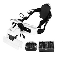 5/10/15/20X Magnifying Headset with LED Light Magnifying Glass Head Mounted Jewelry Loupe Magnifier with Multiple Lens 2