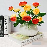 Hoa lụa giả Chùm hoa hồng 12 nụ bông màu trà cam trang trí