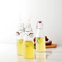 Combo 4 chai thủy tinh vuông nắp khóa cài dung tích 250 ml - Made in Italy