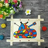 Tranh gỗ có hình kèm màu và cọ cho bé tập tô