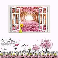 Decal dán tường Combo Cửa sổ và chân tường hồng AmyShop (200 x 100 cm )