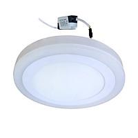 Đèn Led ốp trần 16w ( 12w +4w) tròn nổi 2 màu 3 chế độ sáng trắng+viền sáng màu Posson LP-Ro12-4B-G