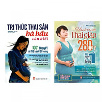 Combo Sách Tri Thức Thai Sản Bà Bầu Cần Biết + Hành Trình Thai Giáo 280 Ngày Tặng 1 cuốn truyện song ngữ ngẫu nhiên như trong hình