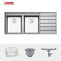Chậu rửa bát Konox, European Series, Model Premium KS11650 2B , Inox 304AISI tiêu chuẩn châu Âu, 1160x500x215(mm), Hàng chính hãng