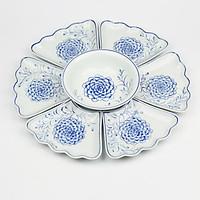 Bộ Đồ Ăn Hoa Mặt Trời Bát Tràng Men Ngọc -Khử Chì Và Kim Loại Nặng - Hoa Phù Dung Vẽ Tay-55cm