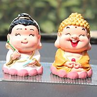 Bộ đôi tượng chibi Quan Âm + Phật Tổ 6cm bằng sứ đặc ruột cao cấp