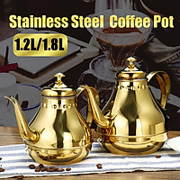 1.2/1.8L Golden Stainless Steel Coffee Pot Kettle Teapot Kettle With Filter Fit for Direct Fire Heating and Induction Cooker