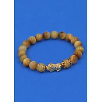 Vòng đeo tay Đá Măt Hổ Vàng 8 ly - cẩn Tỳ Hưu Phong Thủy inox vàng VMHVTHHKV8 - hợp mệnh Thổ, mệnh Kim