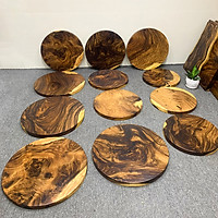 Mặt bàn tròn gỗ me tây nguyên tấm cho quán cafe