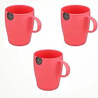Bộ 3 Cốc uống nước cao cấp có tay cầm màu hồng - Hàng Nội Địa Nhật