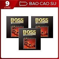 Bộ 3 Hộp Bao Cao Su Malaysia Boss 4 in 1 3 cái - Kéo Dài Thời Gian - Gai Li Ti Nhỏ