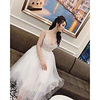 Đầm xoè dự tiệc 2 dây ren mi kết cườm TRIPBLE T DRESS - size M/L (kèm ảnh/video thật) -MS131V