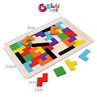 Đồ chơi xếp hình bằng gỗ, trò chơi xếp gạch Tetris phát triển tư duy cho trẻ - GLDC02