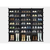 Tủ giày lắp ghép 21 ô có 3 ô lớn - màu đen