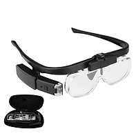 4.5X Magnifying Headset with LED Light Magnifying Glass Head Mounted Jewelry Loupe Magnifier with Multiple Lens 2 LED