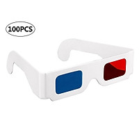 100Pcs 3D Cardboard Glasses Red & Cyan Anaglyph White Card Glasses for 3D Viewing