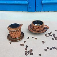 Bộ phin pha cafe - Phin pha cafe gốm sứ - Bộ phin gốm sứ pha cafe có bộ lọc dáng thấp - Phin pha cafe nem hỏa biến